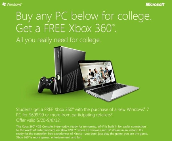 Microsoft Renews Free Xbox 360 with Purchase of Windows PC