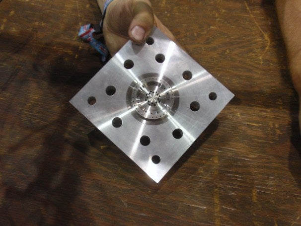 The injector plate--used for moderating fuel ratios--for a rocket engine, built by Team Phoenicia