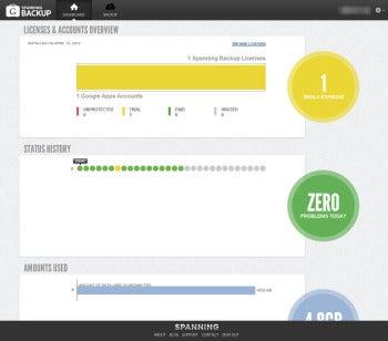 Spanning Backup UI screenshot