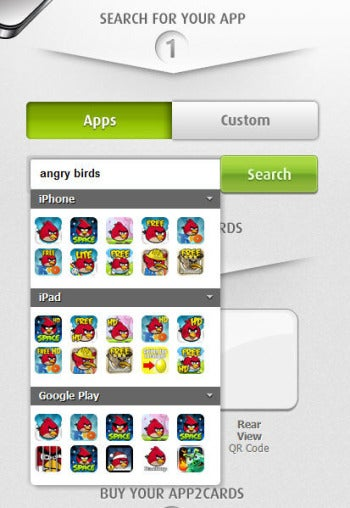 App2Card interface screenshot