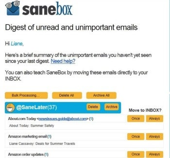 Sanebox screenshot