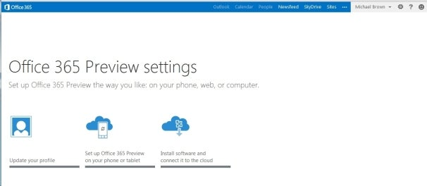 Ofiice 365 Preview: settings screen
