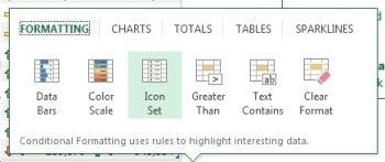 Excel's Quick Analysis tool.