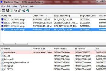 BlueScreenView portable version screenshot