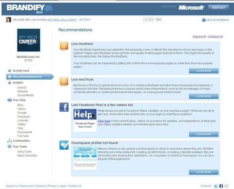 Brandify recommendations provide step-by-step guidance to help you improve your visibility in search engines and across social sites.