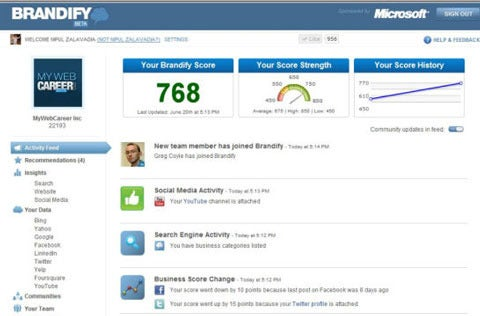 The Brandify dashboard allows you to quickly see your social score and recent positive changes.The Brandify dashboard allows you to quickly see your social score and recent positive changes.