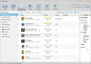 Moborobo Apps tab screenshot