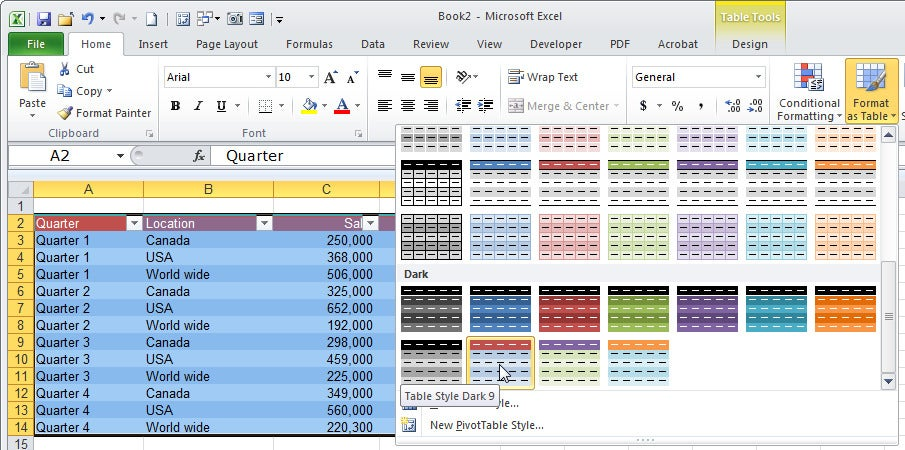 10 secrets for creating awesome excel tables pcworld for Table design tab excel