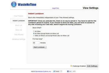 WasteNoTime in Chrome screenshot