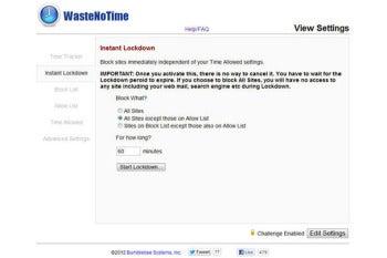 WasteNoTime in Chrome screenshot