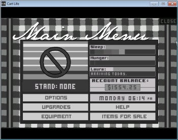 Cart Life main menu screenshot