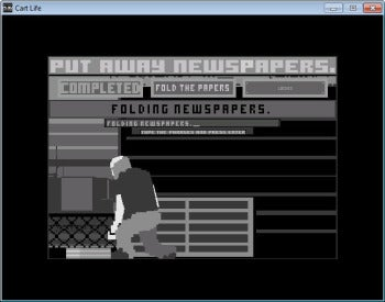 Cart Life newspaper stacking screenshot