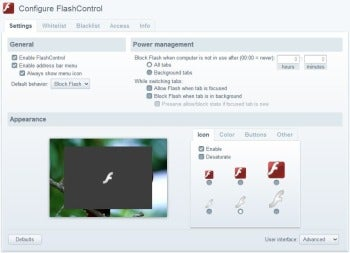 FlashControl extension for Google Chrome