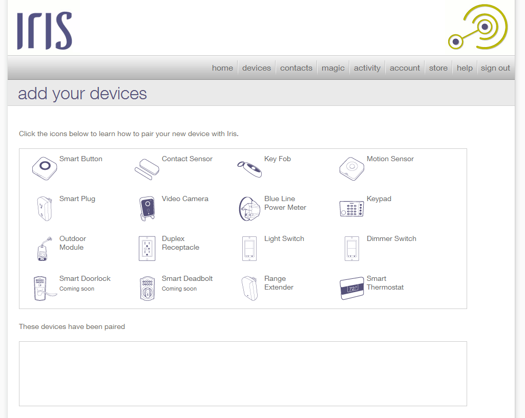 lowes iris smart kit a basic introduction to home automation the add your devices screen shows all of the components that you can include in an iris system