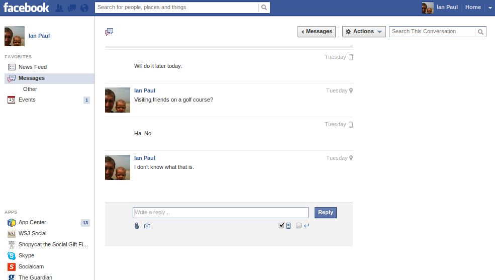 Facebook s new messages layout features a simple clean looking two