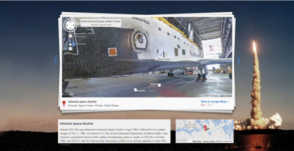 Home page of Google Street View's NASA/Kennedy Space Center photo collection