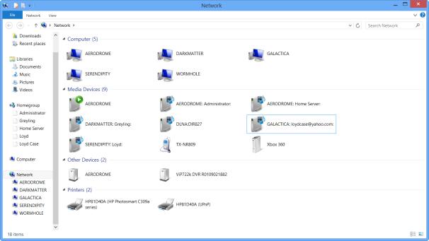 Windows 8 Network Status Page
