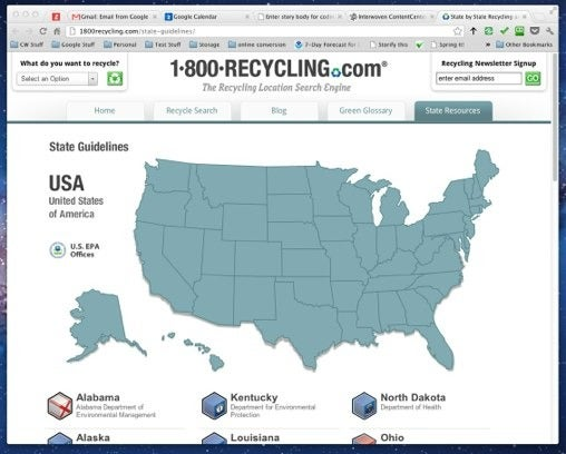 1-800-recycling.com offers state-by-state information for finding recyclers.