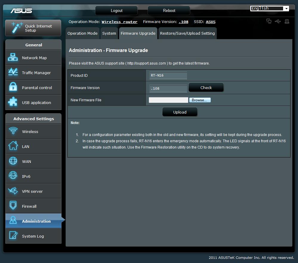 dsl-n16 no upload firmware button
