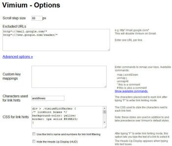 Vimium Options screenshot