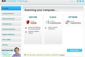 AOL Computer Checkup screenshot
