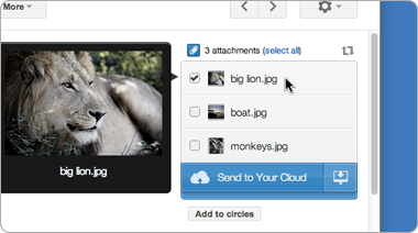 Attachments.me will save Gmail attachments to SkyDrive.