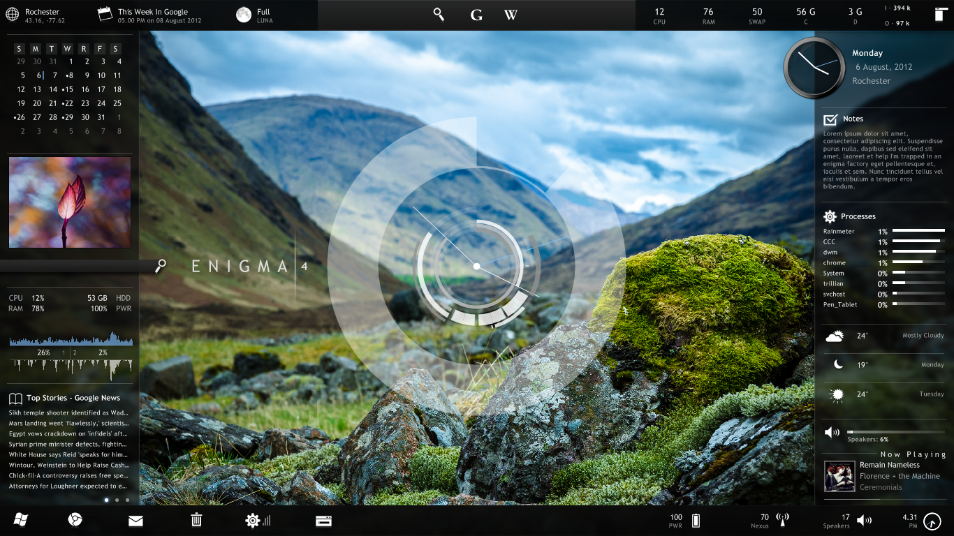Calendar Wallpaper Program : Supercharge your desktop with rainmeter widgets pcworld