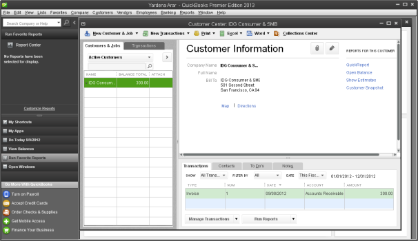 QuickBooks 2013's Customer Center