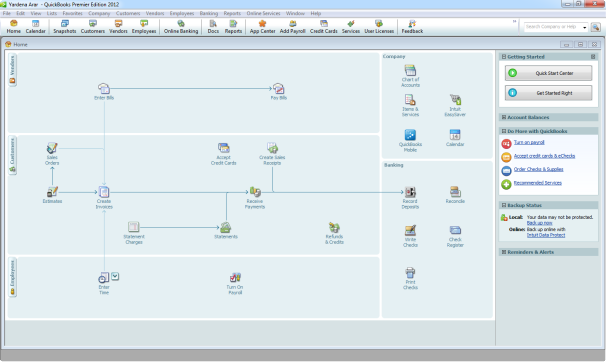 Quickbooks Premier 2012 Home screen