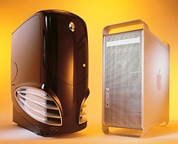 Apple's Power Mac G5 (right) faces off against Alienware's Aurora, an Athlon 64 FX-51-based system.