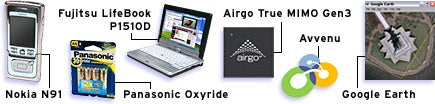 Mobile: Airgo True MIMO Gen3, Avvenu, Fujitsu LifeBook P1510D, Google Earth, Nokia N91, Panasonic Oxyride.