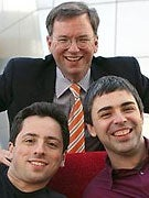 Clockwise from top: Eric Schmidt, Larry Page, and Sergey Brin