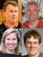 Clockwise from upper left: Paul Graham, Trevor Blackwell, Robert Morris, and Jessica Livingston