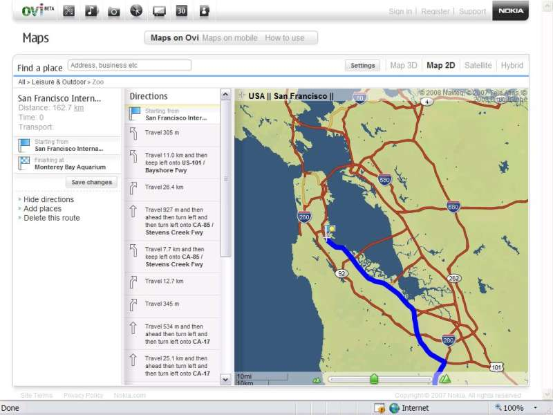 Nokia Previews Sophisticated Web-and-Mobile Mapping Service   PCWorld