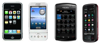 rim blackberry storm, iphone, android, smartphones