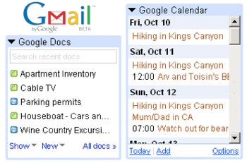 Gmail Gets Integrated Calendar and Docs