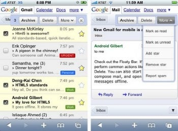 gmail updated for iphone and android os