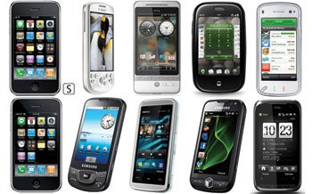 Ten recent touchscreen smartphones.