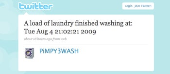 A tweeting washing machine lets it's owner know the laundry is done