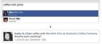 Facebook Status Update Tagging