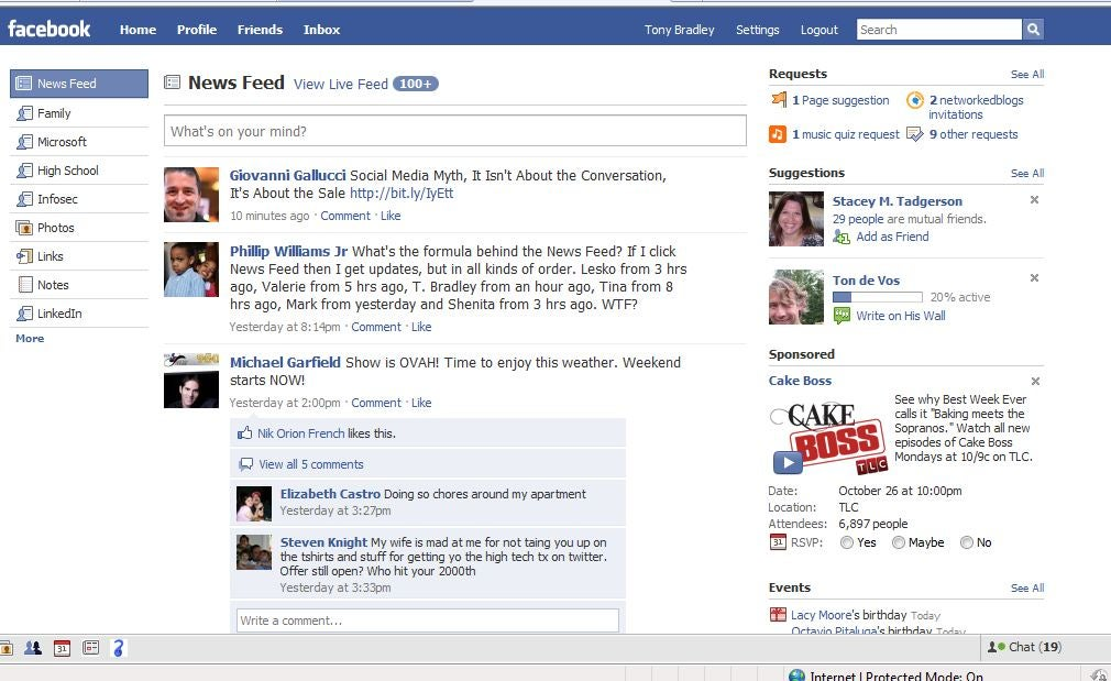 The new facebook news feed brings highlights back to status update