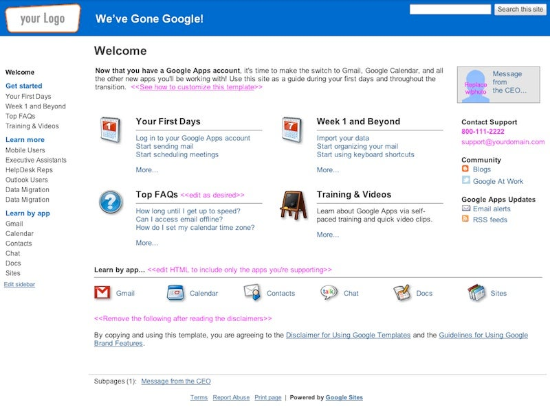 Google sites gets dozens of templates pcworld businesses using google apps with sites can use an intranet page like this one to help teams make the transition maxwellsz