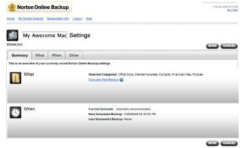 Norton Online Backup 2.0's settings screen