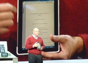 Steve Ballmer demonstrates HP's Windows 7-based tablet PC.