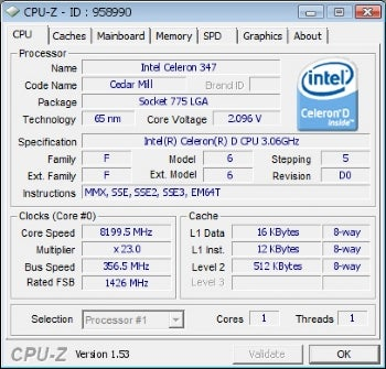 The Celeron, running almost three times faster than before.  Image credit: TiN on XtremeLabs.org.