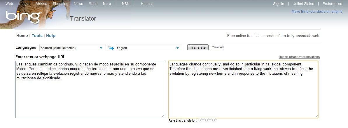 Google Chrome Translator vs  Microsoft Bing and Yahoo Babel Fish