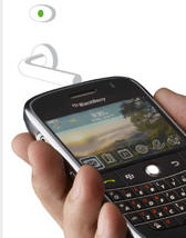 Pciture of Blackberry being held in someone's hand