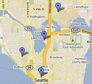 Seattle test locations; click for full-size image.