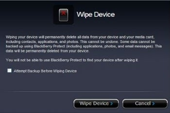BlackBerry Protect includes a device-wiping feature.
