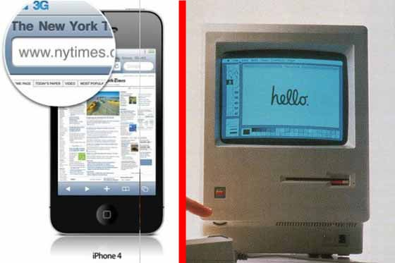 iPhone screen vs. Mac 128K screen